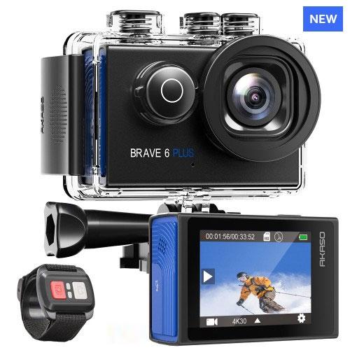 Akaso Brave 6 Plus με Φωνητική Εντολή (4K-20MP-8x Zoom-WiFi-2 μπαταρίες-Τηλεχειριστήριο Βραχιόλι)
