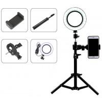 Επαγγελματικό Φωτογραφικό Φωτιστικό Δαχτυλίδι Ring Lamp Light LED USB 16cm (3 Χρώματα Φωτισμού/ Dimmer/τρίποδο 50cm/βάση κινητού)