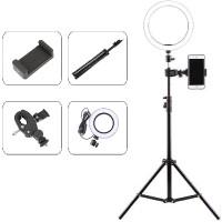 Επαγγελματικό Φωτογραφικό Φωτιστικό Δαχτυλίδι Ring Lamp Light LED USB 26εκ. (3 Χρώματα Φωτισμού/ Dimmer/τρίποδο 160cm/βάση κινητού)