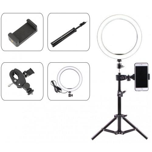 Επαγγελματικό Φωτογραφικό Φωτιστικό Δαχτυλίδι Ring Lamp Light LED USB 26εκ. (3 Χρώματα Φωτισμού/ Dimmer/τρίποδο 50cm/βάση κινητού)