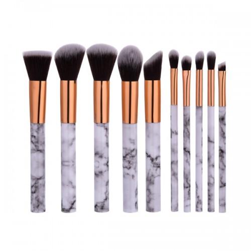 Σετ πινέλα μακιγιάζ - Marbling  Professional Makeup Brush set 10τμχ (Gold-white)