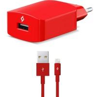 TTEC SpeedCharger Ταχυφορτιστής Ταξιδιού και καλώδιο Για Apple (lightning) Κόκκινο