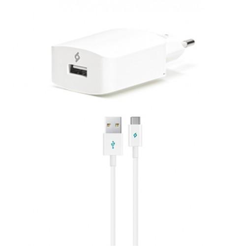 TTEC SpeedCharger Ταχυφορτιστής Ταξιδιού και καλώδιο Για Android (type-c) Λευκό