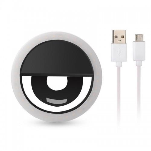 Selfie Ring Light Επαναφορτιζόμενο LED 5600K για Selfie RK-12 (Black)