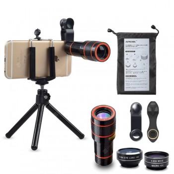 APEXEL APL-HS12X Φωτογραφικός Τηλεφακός 12x Zoom + Τρίποδο για όλα τα κινητά τηλέφωνα και Smartphone