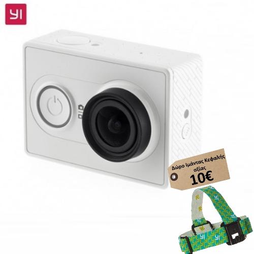 Yi EU Edition Ambarella A7LS 1080P 16MP WIFI Action Camera(Λευκή)  (Δώρο Ιμάντας Κεφαλής Yi αξίας 10€)