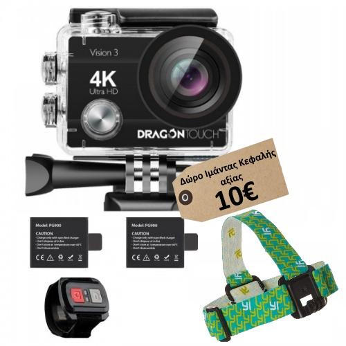 "Dragon Touch Vision 3 (2""-16MP-4K-WIFI-170°-Αδιάβροχη) (Δώρο Ιμάντας Κεφαλής Yi αξίας 10€)"