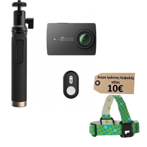 Yi 4K & Selfie Stick - EU Edition (4K 12MP WIFI Action Cam) (Μαύρο) (Δώρο Ιμάντας Κεφαλής Yi αξίας 10€)