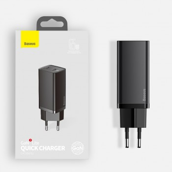 Baseus GaN2 Lite Quick Charger C+C 65W EU (2 θύρες USB Type-C)