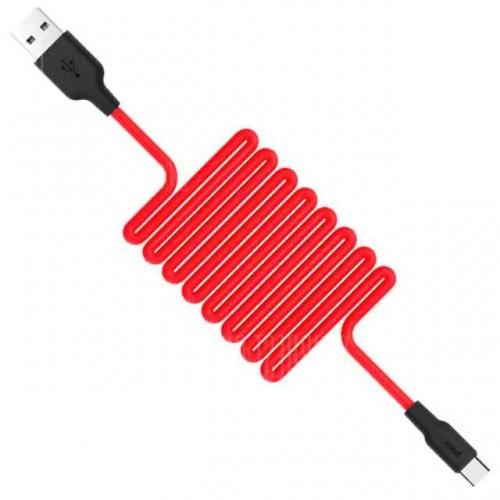 Hoco. X21 Ανθεκτικό Καλώδιο Σιλικόνης USB 2.0 to micro USB Κόκκινο 1 μέτρο