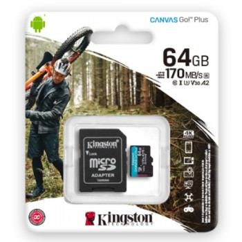 Kingston Canvas Go! Plus microSDXC Class 10 U3 V10 A2 SDCG3/64GB