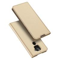 Dux Ducis Skin Pro Δερμάτινη Μαγνητική Θήκη Πορτοφόλι με Βάση Στήριξης για Xiaomi Redmi Note 9 - Gold