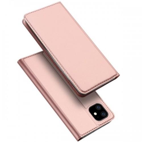 Dux Ducis Skin Pro Δερμάτινη Μαγνητική Θήκη Πορτοφόλι με Βάση Στήριξης για iPhone 11 - Ροζ
