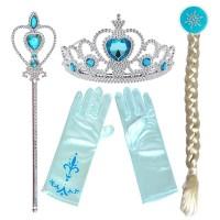 Αποκριάτικο σετ Παγωμένης Πριγκίπισσας (Στέμμα, Γάντια, Σκήπτρο, Κοτσίδα) 41678