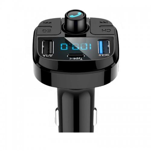 Onever Bluetooth 5.0 Transmitter- φορτιστής αυτοκινήτου MP3/QC3.0 Διπλό USB/Οθόνη LED/TF Card
