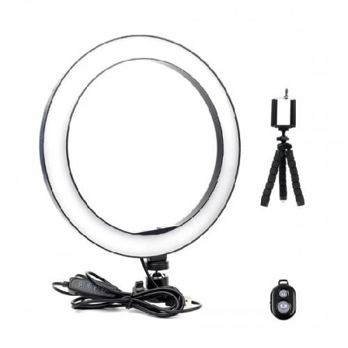 Επαγγελματικό Φωτογραφικό Φωτιστικό Δαχτυλίδι Ring Lamp Light LED USB 26εκ. (3 Χρώματα Φωτισμού/ Dimmer/ Τρίποδο/ Bluetooth Control)