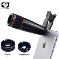 Apexel APL-12CX3 Κιτ Φακών 4-σε-1 (Τηλεσκοπικός/Fisheye/Wide/Macro) για Smartphones/Tablets