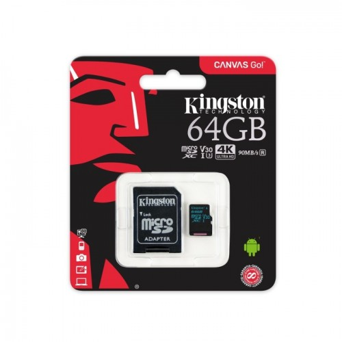 Micro SD Kingston U3 64GB 4K 90mb/s + adapter Canvas Go! SDCG2/32GB