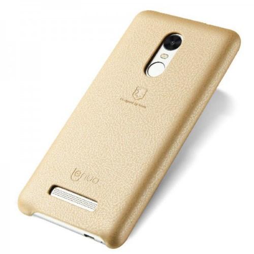 LENUO Music Case II Σκληρή Θήκη Λεπτή με Επένδυση Δέρματος για Xiaomi Redmi Note 3 Pro Special Edition - Χρυσή