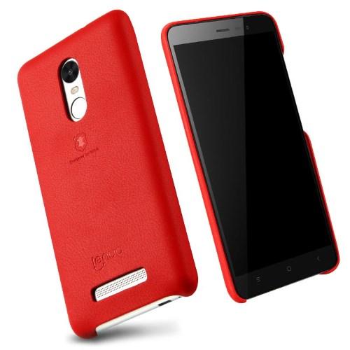 LENUO Music Case II Σκληρή Θήκη Λεπτή με Επένδυση Δέρματος για Xiaomi Redmi Note 3 Pro Special Edition - Κόκκινη