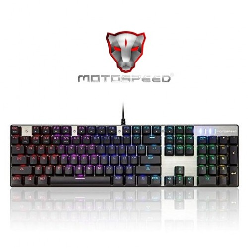 Motospeed Inflictor CK104 Gaming Mechanical Keyboard (Blue Switches) - Silver
