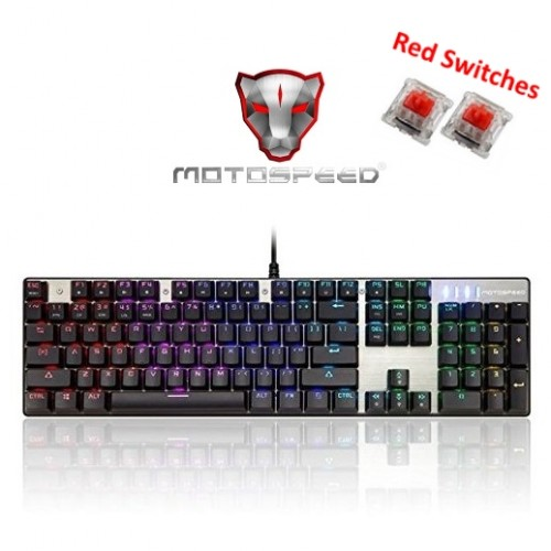 Motospeed Inflictor CK104 Gaming Mechanical Keyboard (Red Switches) - Silver