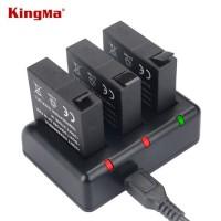 Σετ Φορτιστή + 3 Μπαταρίες για Xiaomi Yi 2 (4K/4K+/Lite/360) - KingMa AZ16-1