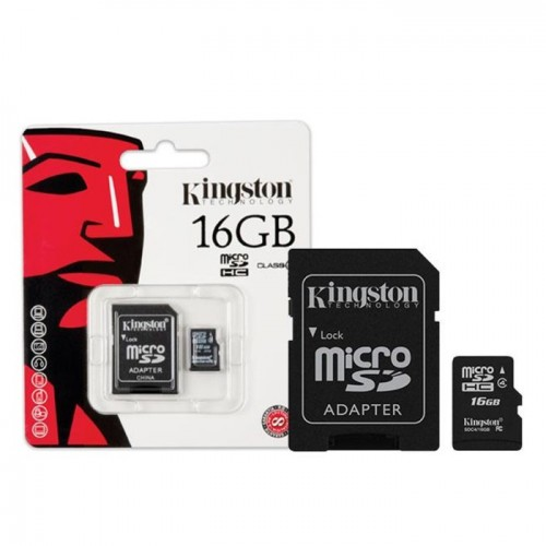 Micro SD Class 4 Kingston 16GB + Adapter SDC4/16GB