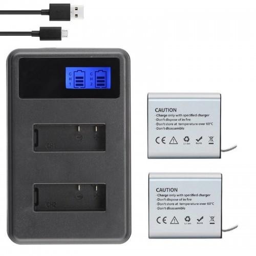 ΟΕΜ-C27 LCD Φορτιστής  Διπλός + 2 Μπαταρίες 1350mAh  για Action Camera (Akaso/SJCAM/EKEN/Gitup/ SOOCOO/ThiEYE/κ.α.)