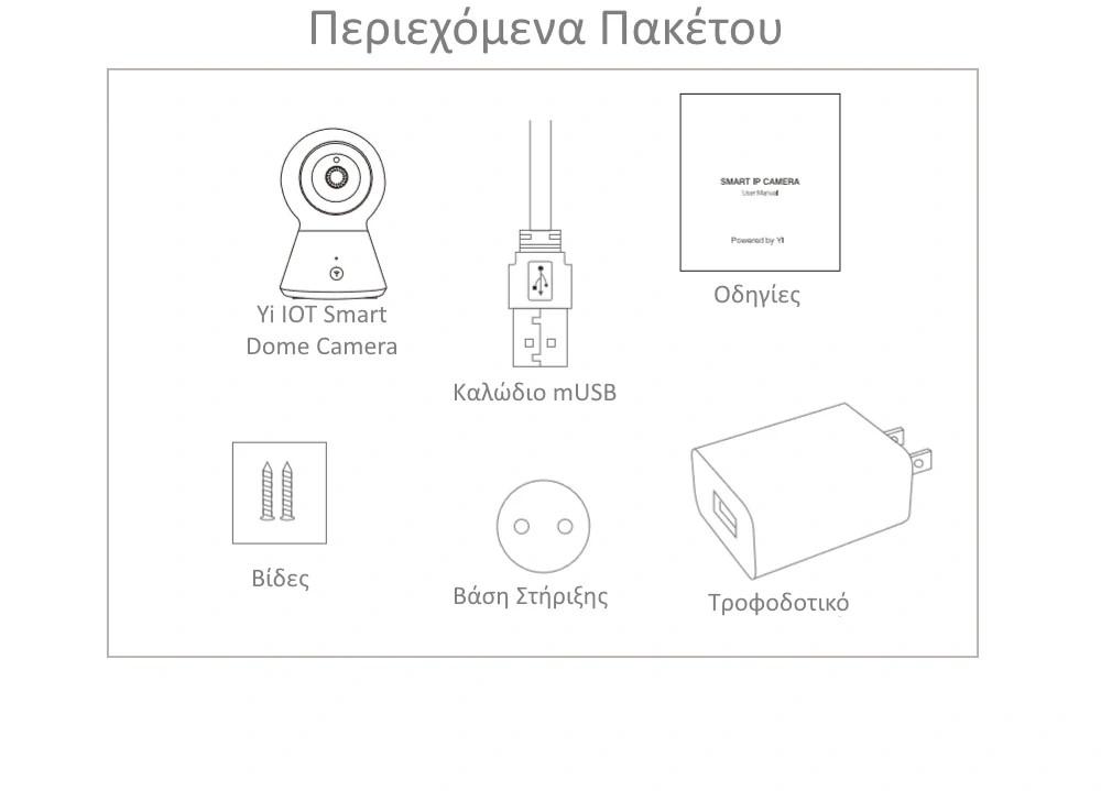 Περιεχόμενα Πακέτου Yi Smart IOT Dome Camera