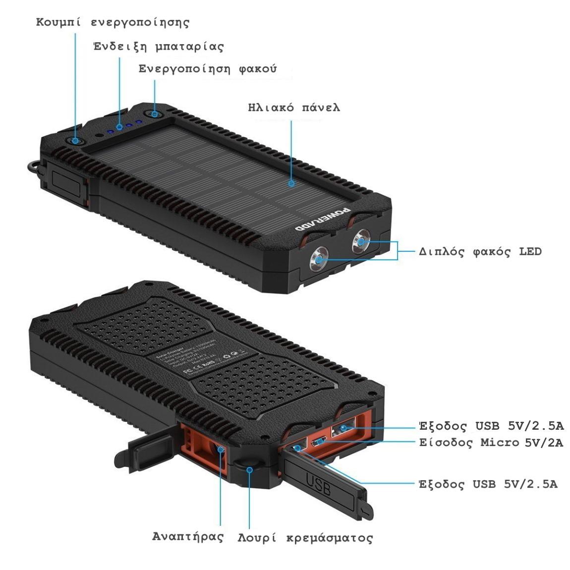 αδιάβροχο Power Bank POWERADD Unique 12000mAh χαρακτηριστικά