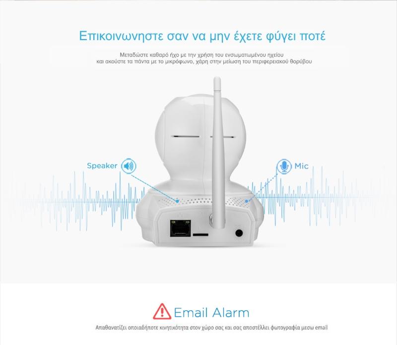 Sricam SP019 Wifi/IP Camera (Ρομποτική/Νυχτερινή Λήψη/SD) Αμφίδρομη επικοινωνία