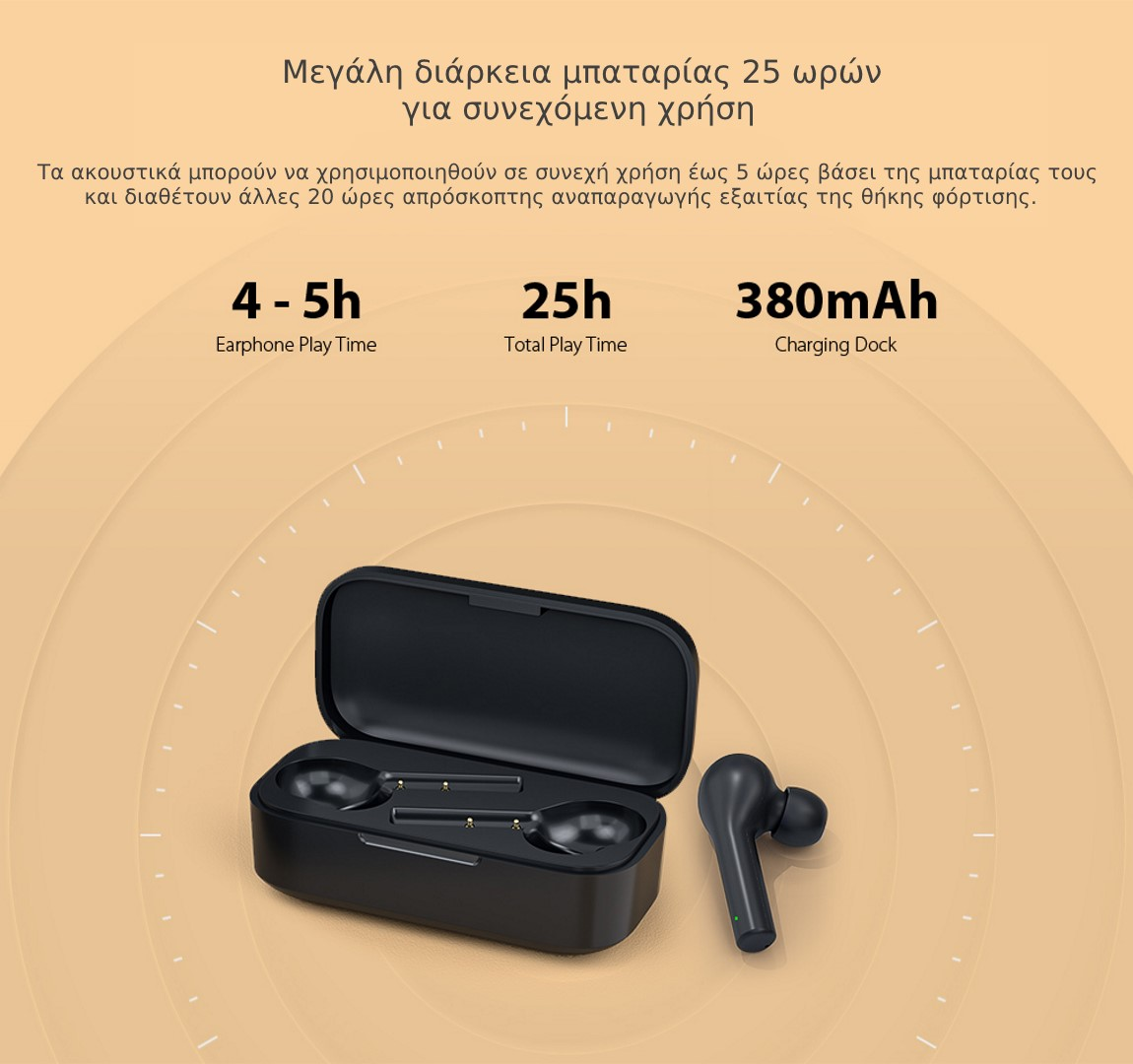 QCY T5 Bluetooth IPX5 Αδιάβροχα ακουστικά μπαταρία