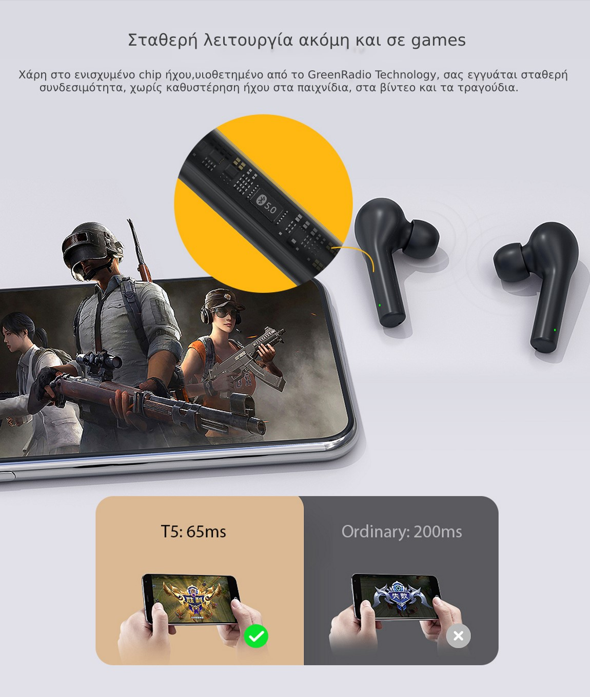 QCY T5 Bluetooth IPX5 Αδιάβροχα ακουστικά με βάση φόρτισης σταθερή λειτουργία