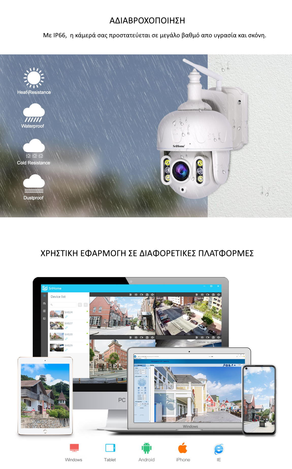 Srihome SH028 Κάμερα Ασφαλείας αδιαβροχοποίηση και μέσα αναπαραγωγής