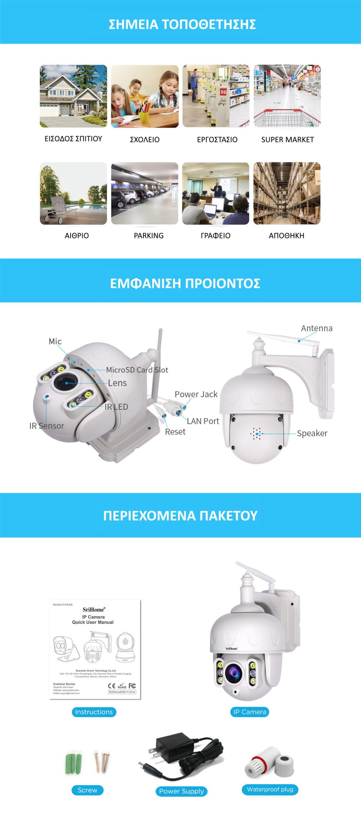Srihome SH028 Κάμερα Ασφαλείας σημεία τοποθέτησης και περιεχόμενα πακέτου