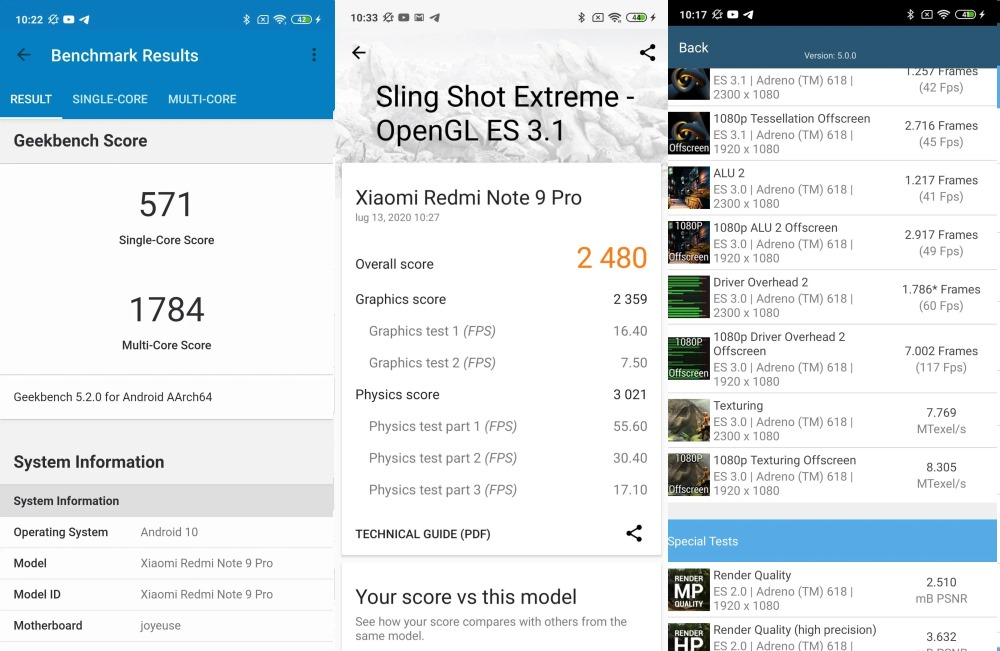 Benchmarks Redmi Note 9 Pro