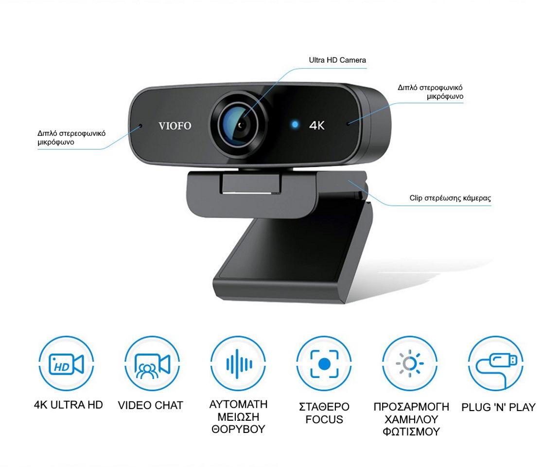 VIOFO P900 2160P UHD Web Camera χαρακτηριστικά
